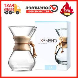 Chemex Classic Series, Pour-over Glass Coffeemaker, 6-Cup -