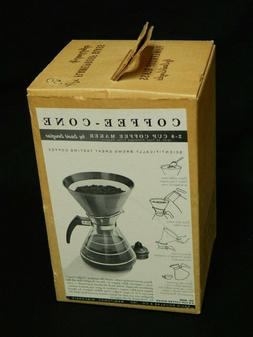 coffee cone carafe flameproof glass silver strip