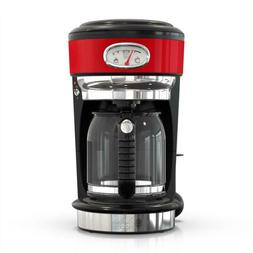 Retro Style Drip Coffee Maker 8 Cup Red Stainless Steel Brew