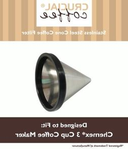 Washable & Reusable Cone Coffee Filter Fits Chemex® 3 Cup C
